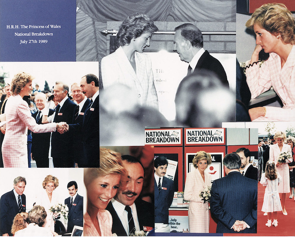 HRH Diana opening National Breakdowns Leeds HQ with Ernest Smith